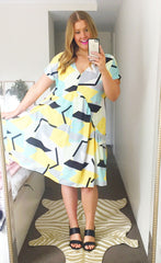 Charlotte Yellow Geo Dress