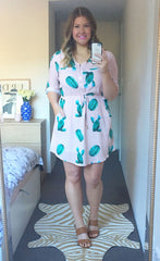 Chelsea Cactus Print Shirt Dress