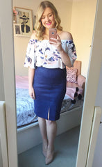 Chicago Navy Pencil Skirt