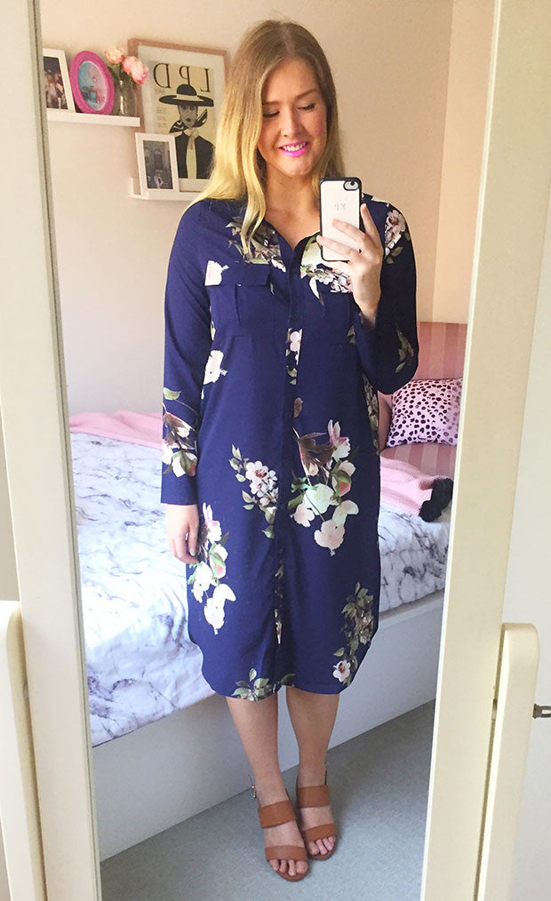 Debbie Navy Floral Shirt Dress