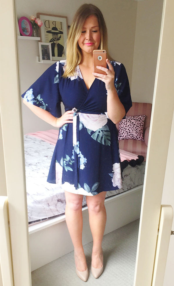 Desiree Navy Print Wrap Dress