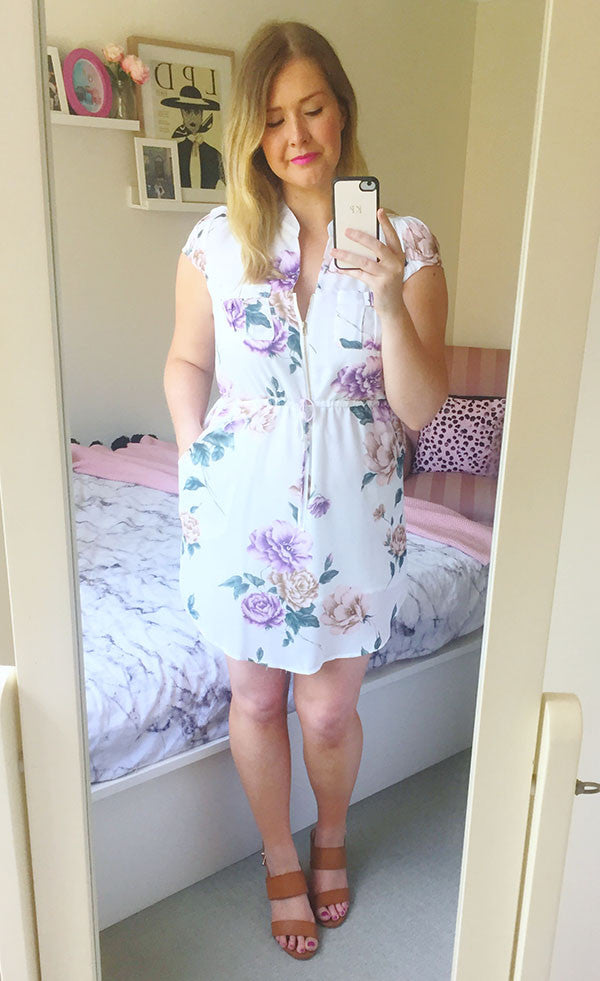 Donna White Floral Shirt Dress