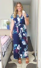 Empire Navy Floral Jumpsuit