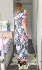 Empire Stripe Floral Jumpsuit