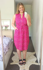 Fiona Pink Leopard Shirt Dress