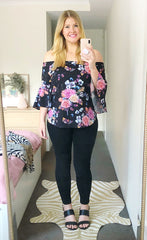 Glance Black Floral Top