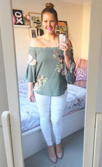 Glance Green Print Top