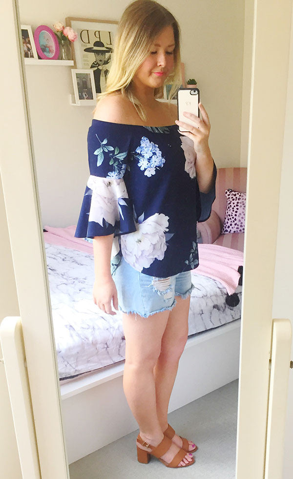 Glance Navy Print Top