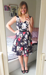 Hearts Race Black Floral Dress