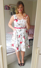 Hearts Race White Floral Dress