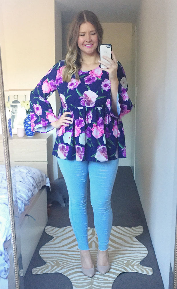 Heather Navy Floral Top