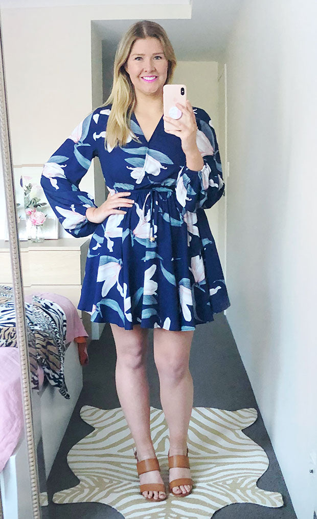 Hope Navy Floral Dress