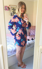 Illusion Orange Floral Dress