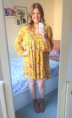 Imagine Mustard Floral Dress