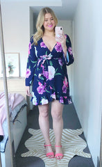 Jenna Navy Floral Wrap Dress