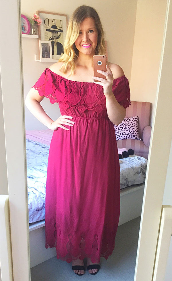 Jess Burgundy Lace Maxi Dress