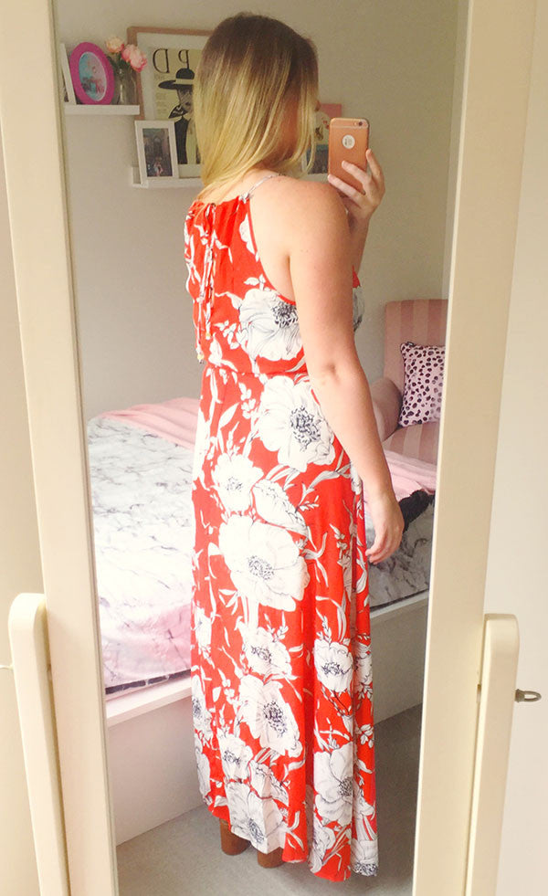 Kai Orange Floral Maxi Dress