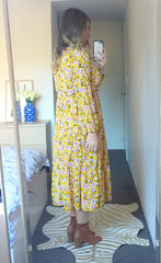Kasey Yellow Floral Dress