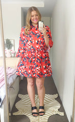 Love Story Red Abstract Print Dress