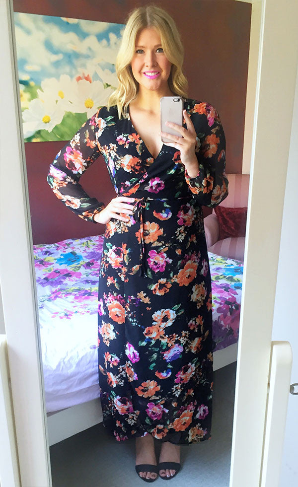 Luncheon Black Floral Wrap Dress