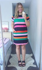 Maggie Pink Stripe Dress