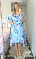 Mandy Blue Floral Wrap Dress