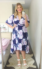 Mandy Pink & Navy Wrap Dress
