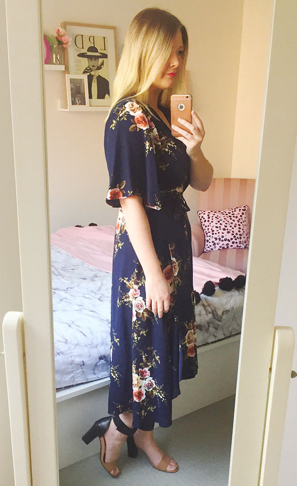 Mandy Navy Floral Wrap Dress