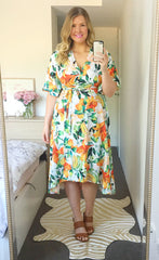 Mandy White Tropical Wrap Dress