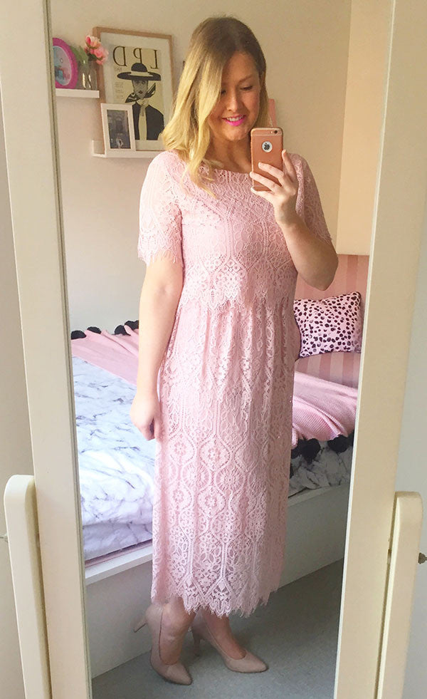 Mary Pink Lace Dress