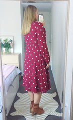 May Burgundy Polka Dot Dress