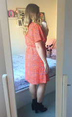Megan Orange Leopard Dress