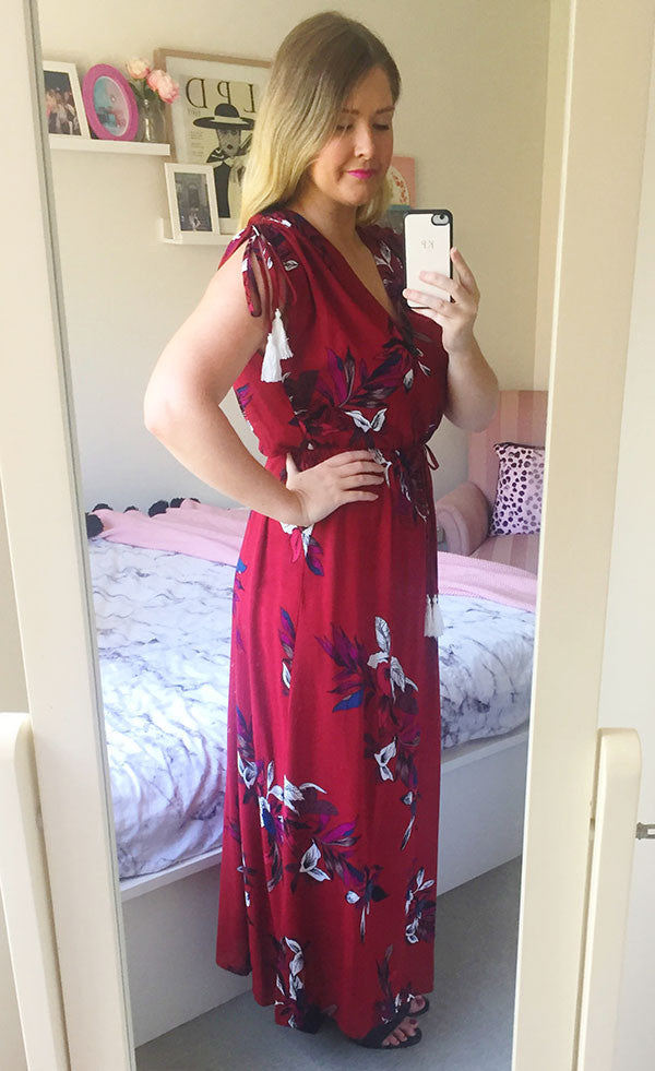 Melanie Red Floral Maxi Dress
