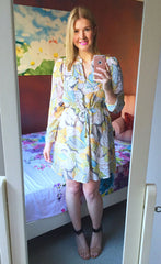 Melinda Yellow Print Shirt Dress