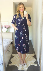 Miranda Navy Print Shirt Dress