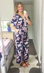 Molly Navy Floral Jumpsuit