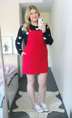 Pippa Red Pinafore Dress