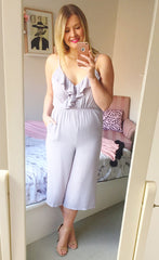 Playful Grey Cropped Jumpsuit