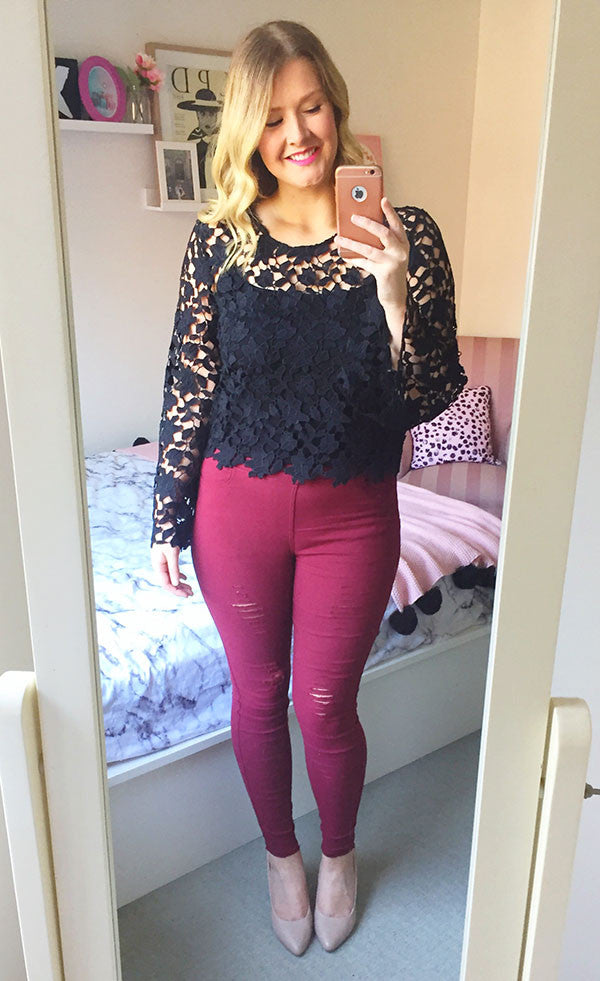 Pure Black Lace Top