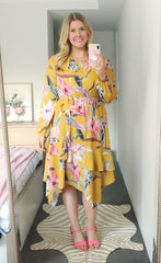 Rita Yellow Floral Dress