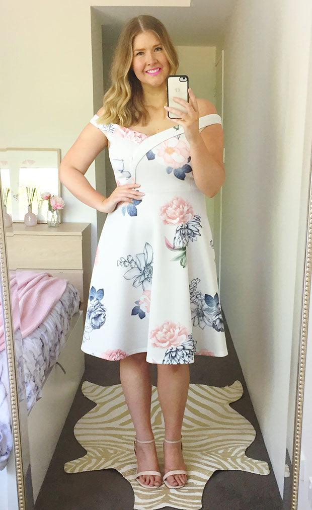 Royal Beige Floral Dress