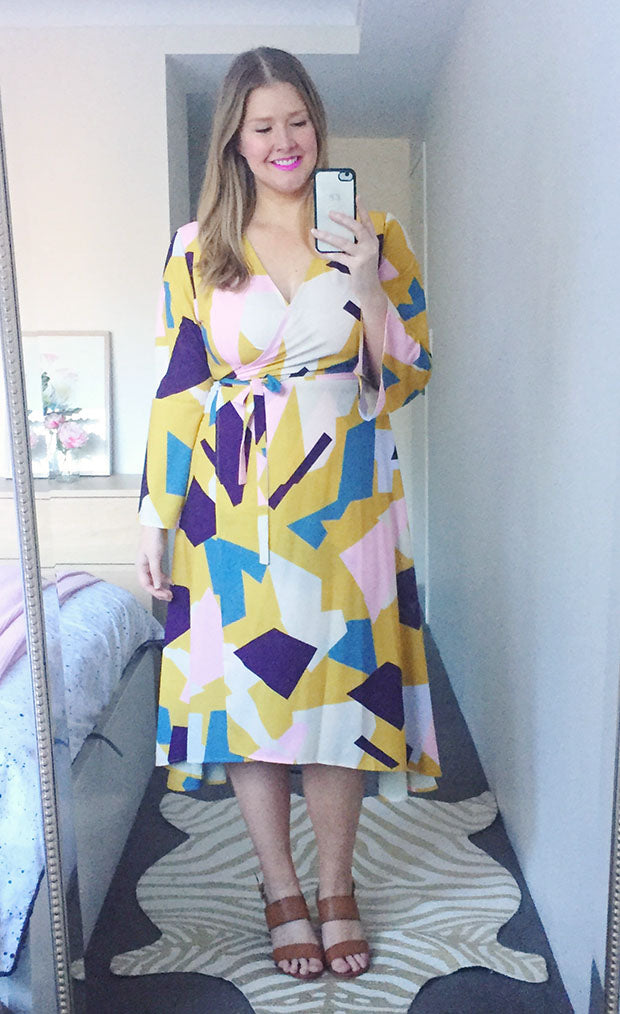 Sadie Mustard Geo Wrap Dress