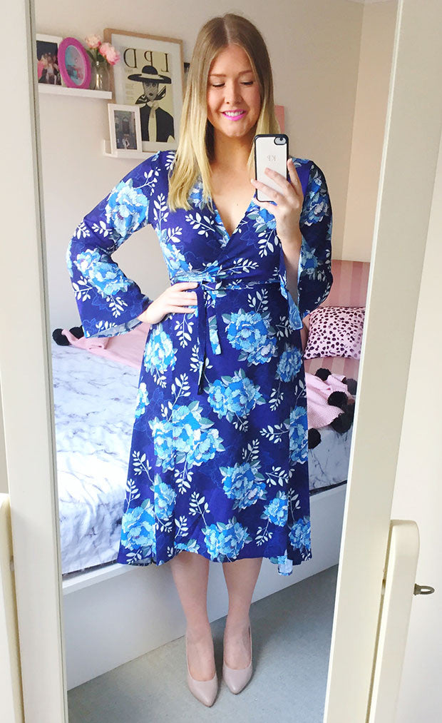 Sadie Navy Floral Wrap Dress