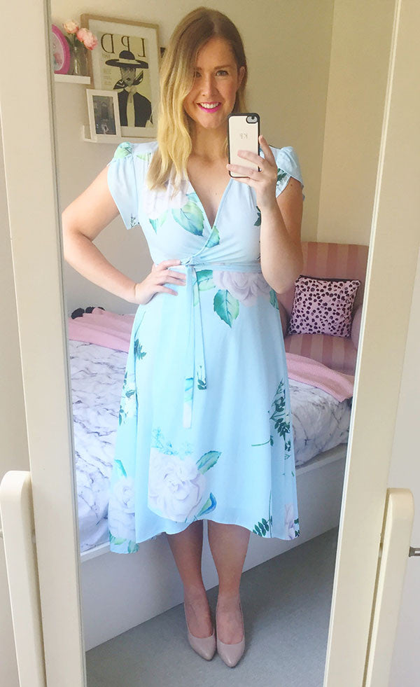 Sharon Mint Floral Wrap Dress