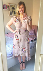 Sharon Nude Floral Wrap Dress