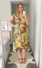 Sharon Mustard Floral Wrap Dress