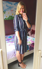Shay Stripe Print Shirt Dress