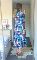 Stacey Navy Tropical Wrap Dress