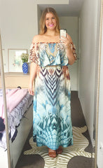 Sunset Green Maxi Dress