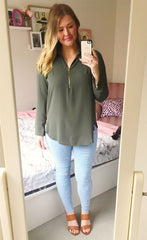 Tiffany Khaki Blouse